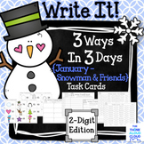 "Math Task Cards {2-Digit Numbers} ~ ""Snowman and Winter Fr"