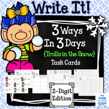 "Math Task Cards {2-Digit Numbers} ~ ""Trolls in the Snow"" version"