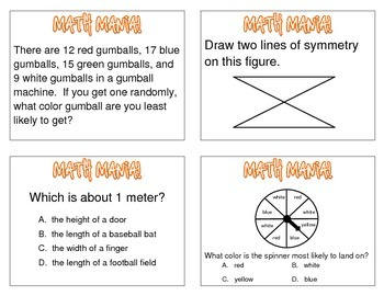 Math Test Prep Task Cards #2
