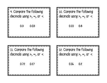 Fraction and Decimal Task Cards