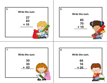 Math Task Cards 2nd Grade Adding 3 Two-digit Numbers -School Kids