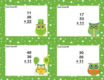 Math Task Cards 2nd Grade Adding 3 Two-digit Numbers St. Patrick's Day Theme