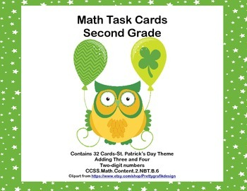 Math Task Cards 2nd Grade Adding 3 Two-digit Numbers St. P