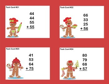 Math Task Cards 2nd Grade Adding 3 and 4 Two-digit Numbers Gingerbread Theme