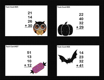 Adding 3 and 4 Two-digit Numbers -Math Task Cards 2nd Grade-Halloween Fun