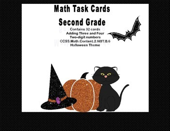 Adding 3 and 4 Two-digit Numbers -Math Task Cards 2nd Grad