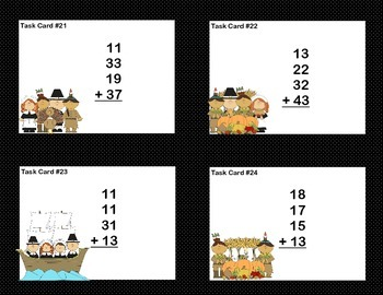 Math Task Cards 2nd Grade Adding 3 and 4 Two-digit Numbers Thanksgiving Theme