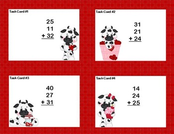 Math Task Cards 2nd Grade Adding 3 and 4 Two-digit Numbers Valentine Fun