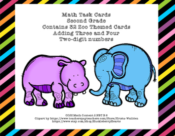 Math Task Cards 2nd Grade Adding 3 and 4 Two-digit Numbers Zoo Fun