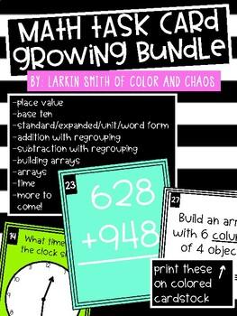 2nd Grade Math Task Cards - GROWING BUNDLE