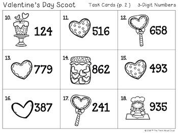 Math Task Cards {3-Digit Numbers} ~ February version