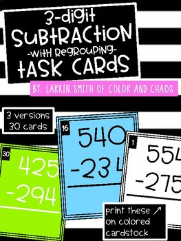 2nd Grade Math Task Cards - 3 Digit Subtraction with Regrouping