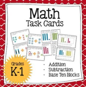 Math Task Cards (7 sets!) + Worksheets: Addition & Subtraction (K-1)