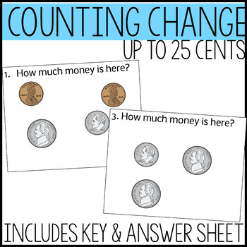 Money Math Task Cards, Adding coins up to 25 cents