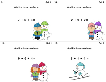 Math Task Cards  Adding Three 2- Digit Numbers-Vertically and Horizontally