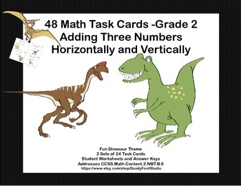Math Task Cards  Adding Three 2- Digits-Vertically and Horizontally-Dinosaurs