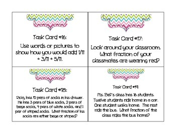 Math Task Cards:  Adding and Subtracting Fractions