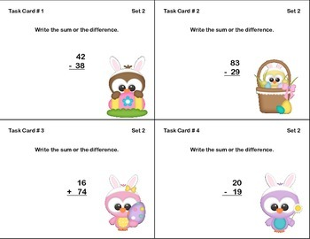 Math Task Cards-Adding and Subtracting With Regrouping-EasterTheme