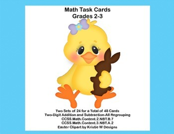 Math Task Cards-Adding and Subtracting With Regrouping-Eas