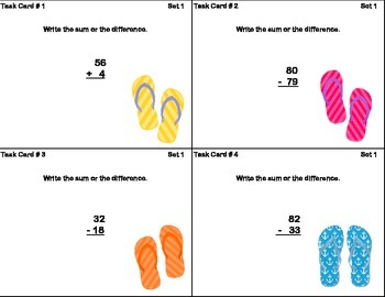 Math Task Cards-Adding and Subtracting With Regrouping-Flip Flops