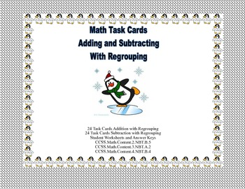 Math Task Cards-Adding and Subtracting With Regrouping-Penguin Theme