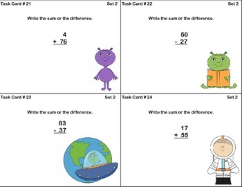 Math Task Cards-Adding and Subtracting With Regrouping-Space