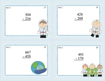 Math Task Cards-Adding and Subtracting With Regrouping-Space Theme