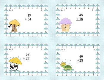 Math Task Cards-Adding and Subtracting With Regrouping-Spring Theme