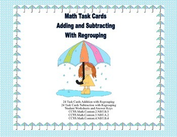 Math Task Cards-Adding and Subtracting With Regrouping-Spr