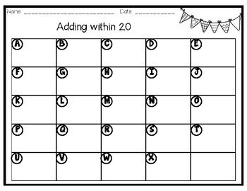 Math Task Cards - Adding within 20