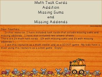 Math Task Cards Addition