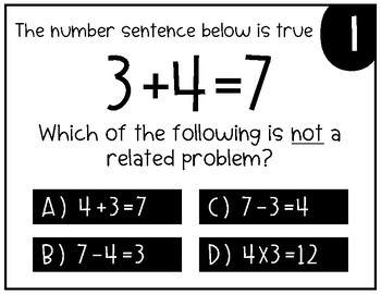 Math Task Cards: Addition As the Inverse of Subtraction