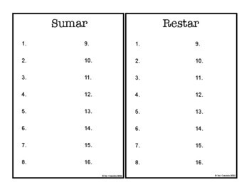 Math Task Cards: Addition Subtraction within 20 (Spanish)