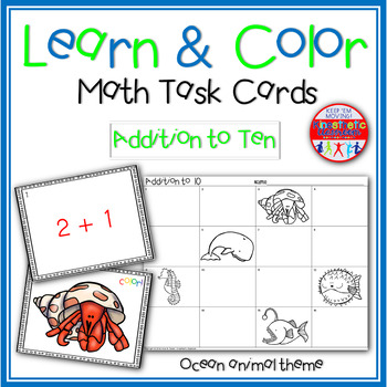 Math Task Cards - Addition to 10 - Learn & Color Scoot Gam