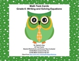 Math Task Cards- Algebra-Write and Solve the Equation-St. Pat's