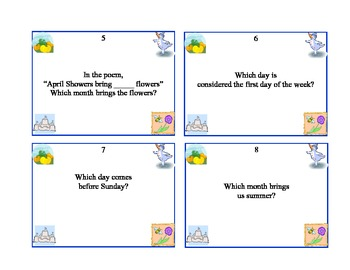 Math Task Cards- All About the Calendar