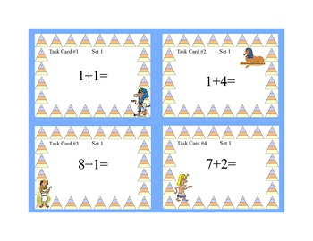 Math Task Cards- Ancient Egyptian Theme-Grades 1-2 Add Subtract within 20