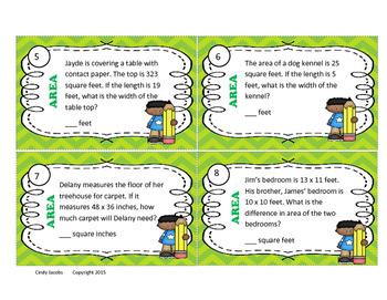 Math Task Cards, Area Word Problem Task Cards