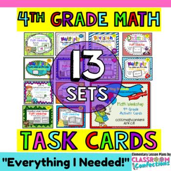4th Grade Math Task Cards: Math Review: 4th Grade Math Cen