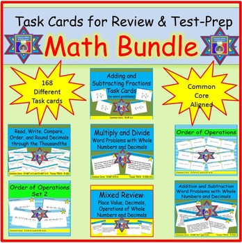 Math Task Cards Bundle for Review and Test Prep