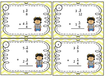 Math Task Cards Common Core 5.NF.A.1