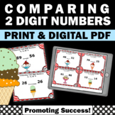 2 Digit Comparing Numbers Task Cards, 1st Grade Math Review Game SCOOT