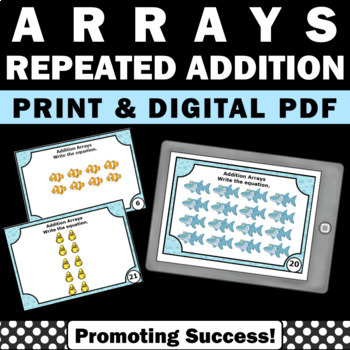 Repeated Addition Arrays 2nd Grade Math Centers, Array Task Cards, SCOOT Review