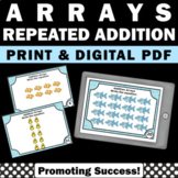 Arrays and Repeated Addition 2nd Grade Math Review Task Cards SCOOT