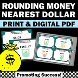 Rounding Money Task Cards to the Nearest Dollar 5th Grade Math Review Games