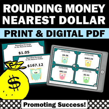 Rounding Money Task Cards To The Nearest Dollar Rounding Decimals Games