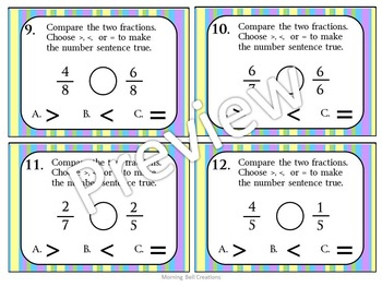 Math Task Cards: Comparing Fractions