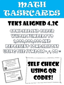 Math Task Cards: Comparing Numbers up to the Billions Place in COLOR and B&W