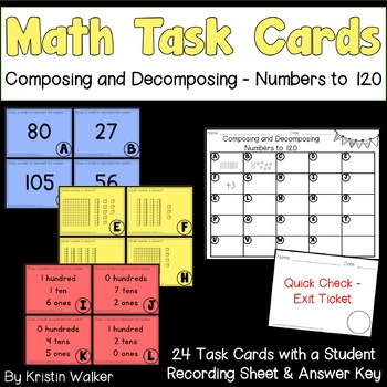 Math Task Cards - Composing and Decomposing Numbers to 120