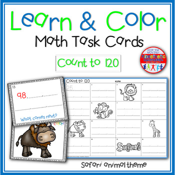 Math Task Cards - Count to 120 - Learn & Color Scoot Game with Brain Breaks